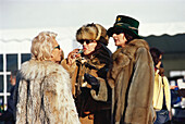 Jet Set, women in fur coats, St. Moritz, Grisons, Switzerland, Europe