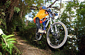 mann fährt Mountainbike durch den Dschungel, Mountainbiken, Kuba, Mittelamerika, Amerika