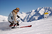 Woman skiing in the Alps, Wintersports, Lech, Austria