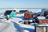 Houses on a sunny day in winter, Ilulissat, Greenland