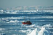 Fishing boat amongst icebergs, Ilulissat, Jakobshavn, Kaalalit Nunaat, Greenland