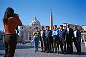 Japanese tourists in front of the Petersdom, Rome, Italy, Europe