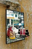 Mirror of a hairdresser, Hanoi, Vietnam