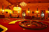 Roulette gambling table at a deserted casino, Bad Homburg, Taunus, Hesse, Germany, Europe