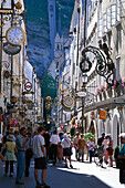 People at the alley Getreidegasse, Salzburg, Salzburger Land, Austria, Europe