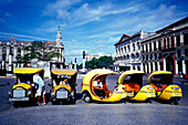 Coco Amarillo, funny taxis waiting on the roadside, Havana, Cuba, Caribbean, America
