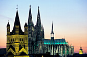 Cologne Cathedral in the afterglow, Cologne, North Rhine-Westphalia, Germany, Europe
