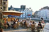 People in street cafes, Graslei, Gent, Flanders, Belgium, Europe