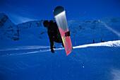Snowboarder in the Halfpipe, Action, jump, Kaunertal, Tyrol, Austria