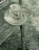 Shepherd's hat on a bench, Marmures, Romania