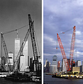 Habour, NYC, USA, New York City, before and after the destruction of the World Trade Center WTC, , Images of a City Buch, S. 80/81