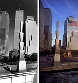 Battery Park, Before and after, USA, New York City, before and after the destruction of the World Trade Center WTC, , Images of a City Buch, S. 40/41
