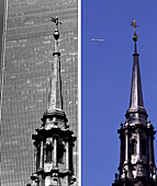 St. Pauls Cathedral, before and after, USA New York City, before and after the destruction of the World Trade Center WTC, , Images of a City Buch, S.12/13