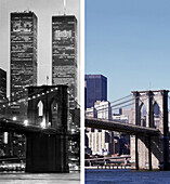 Brooklyn Bridge, before and after, USA, New York City, before and after the destruction of the World Trade Center WTC, , Images of a City Buch, S.48/49 Titel