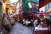 Restaurants in the Rue du Suquet, Old town of Le Suquet, Cannes, Cote d´Azur, France