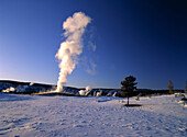Geyser Old Faithful in winter, Yellowstone National Park, Wyoming, USA, America
