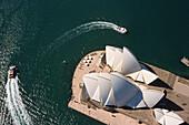 Sydney Opera House from the air, Sydney Opera House, architect Jørn Utzon, Sydney Harbor, Sydney, New South Wales, Australia