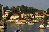 Houses on Sydney Harbour, Australien, NSW, Sydney, expensive harbour-front houses, and yacht, Villen mit Blick aufs Hafen mit Yachten