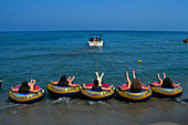 Water tubing on Faliraki beach, Insel Rhodos, Dodekanes, Aegean, Greece