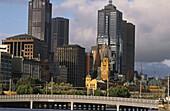 City centre with bridge over the Yarra river, Victoria, Melbourne, Australia