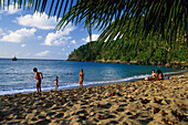 People at a sandy beach, Englishman Bay, north coast of Tobago, West Indies, Karibik