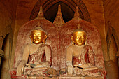 Buddhas, Dhammayangyi Temple, Zwei Buddhafiguren im Dhammayangyi Tempel, Bagan Double Buddha statues, with gold faces, Pagan