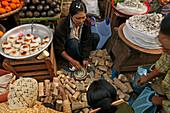 Market day in Bago, tanaka vendor, Bago, Myanmar