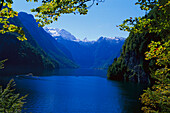 View of Koenigssee with mountain panorama, Berchtesgaden, Bavaria, Germany