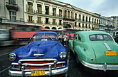 vintage cars used as Taxis, parked, Havana, Cuba
