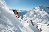 Freeriding, a skier speeding downhill, Lech, Austria, Europe