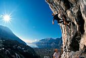 Climbing at the Lake Garda, Trentino, Italy