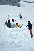 People building an igloo, Dachstein, Austria, Europe