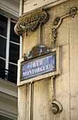 French enamel street sign, Rue Montorgueil, Paris, France