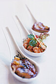 Asian soup spoons with meat dish, Blue Elephant, Restaurant & Cooking School, Bangkok, Thailand