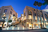 The deserted Wilshire Boulevard at night, Rodeo Drive, Beverly Hills, Los Angeles, USA