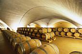 Illuminated cellar vault with wine barrels, Bodega Otazu, Navarra, Spain