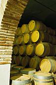 View at barrels at a wine cellar, Bodega Vinicola di Navarra, Spain, Europe