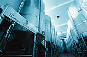 Wine tanks at a storage, Bodega Vinicola di Navarra, Spain, Europe
