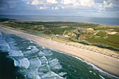 Aerial view of Sylt coastline, Schleswig-Holstein, Germany