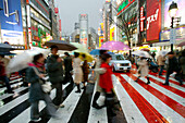Shibuya Station Square red pedestrian crossing, Tokyo, Japan