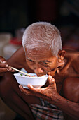 Old Man, Lunchtime, Stong, Cambodia Asia