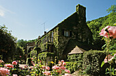 Das malerische Hotel Le Moulin des Ruats hinter blühenden Rosen, Avallon, Burgund, Frankreich