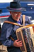 Musician with an accordion, Festa da Pinha, Estoi, Algarve, Portugal