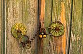 Padlock on a wooden door at the mountain village Galata, Cyprus