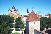 Castle hill with Alexander Nevsky Cathedral, Cathedrale, Tallinn, Estonia