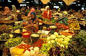 Senior woman at her market stall, Kota Bharu, Market Hall, East coast, Malaysia, Asia