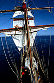 Sailor, Climb, Mast, Traditional Sailing Ship, Open Ocean South Pacific, PR