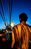 Sailor back, Sailing Vessel, Bora Bora French Polynesia, South Pacific, PR