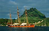 Sailing ship leaving Bora Bora, Sailing Vessel, Bora Bora, French Polynesia, South Pacific, PR