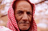 Portrait of an old bedouin man, Rum village, Wadi Rum, Jordan, Middle East